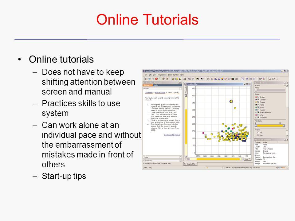 Online Tutorials Online tutorials