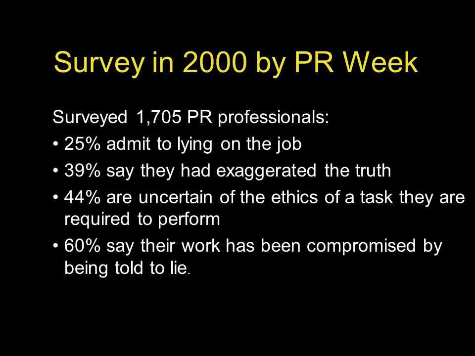 Survey in 2000 by PR Week Surveyed 1,705 PR professionals: