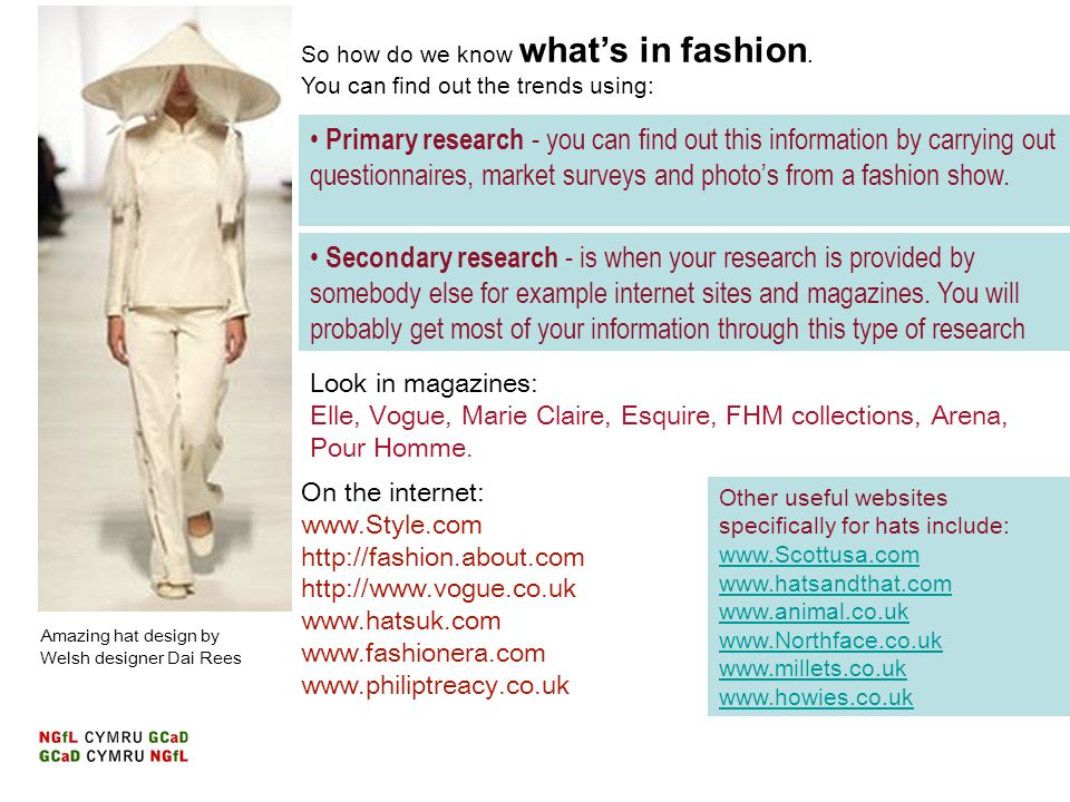 So how do we know what's in fashion. You can find out the trends using: