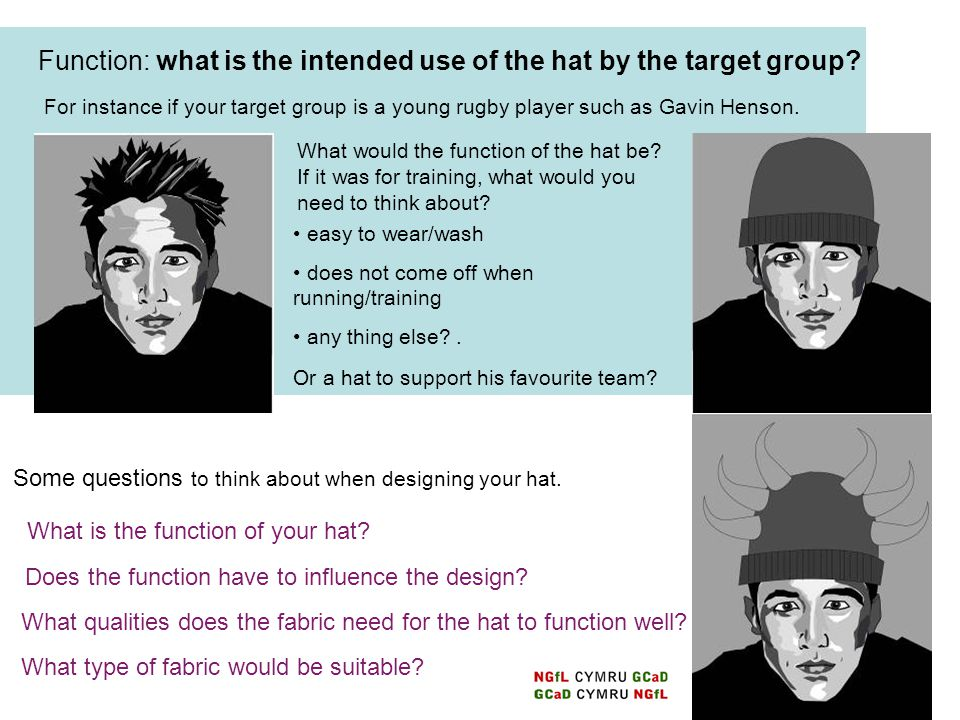 Function: what is the intended use of the hat by the target group