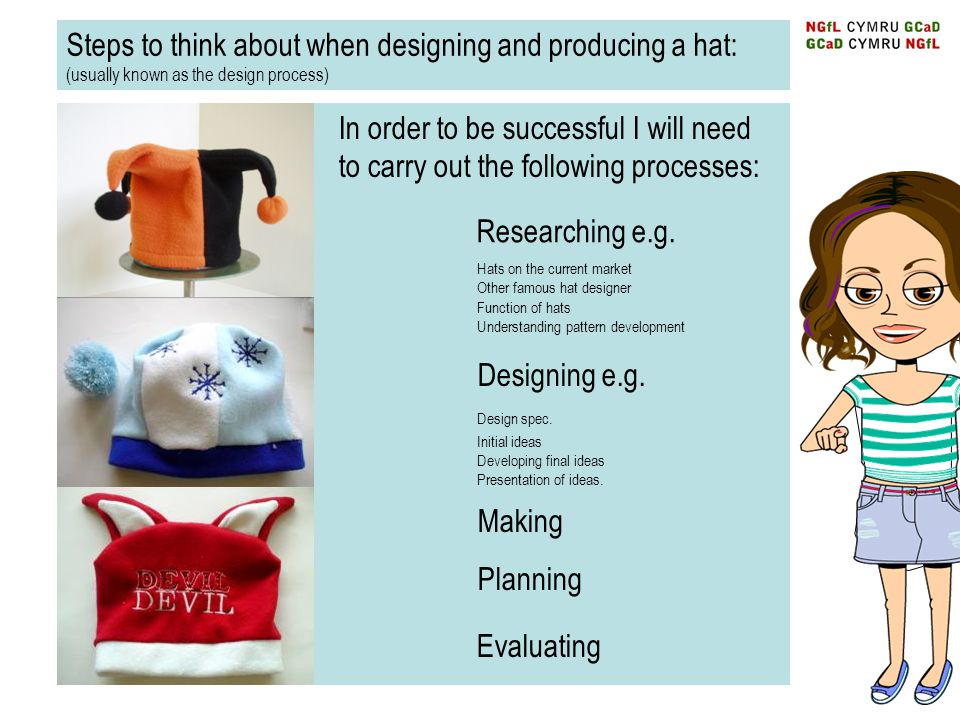 Steps to think about when designing and producing a hat: (usually known as the design process)