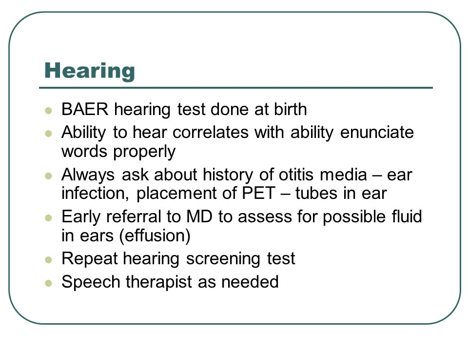 Hearing BAER hearing test done at birth