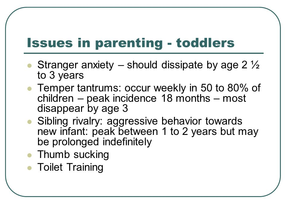 Issues in parenting - toddlers