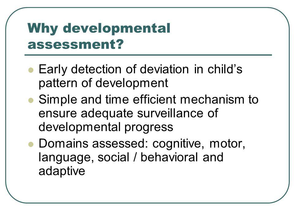 Why developmental assessment