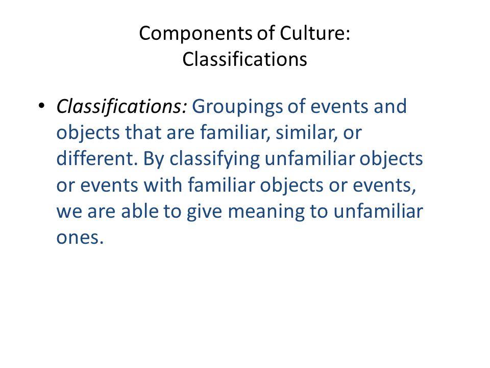 Components of Culture: Classifications