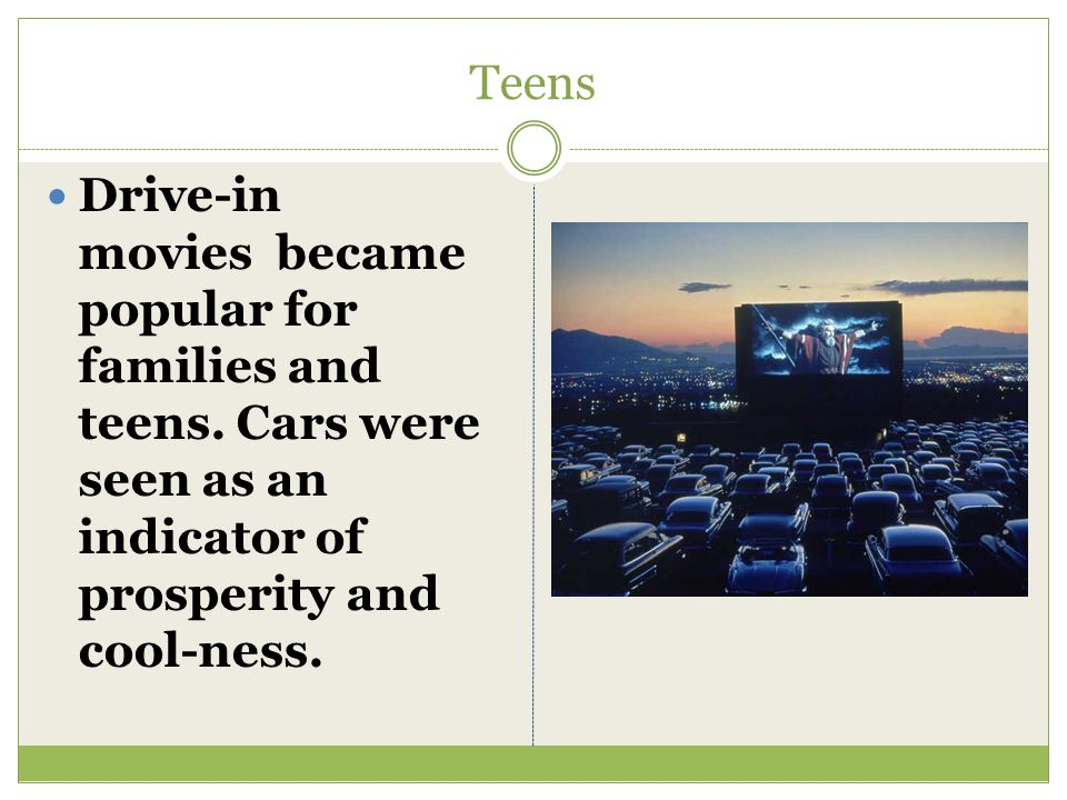 Teens Drive-in movies became popular for families and teens.