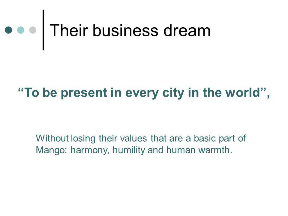 Their business dream To be present in every city in the world ,