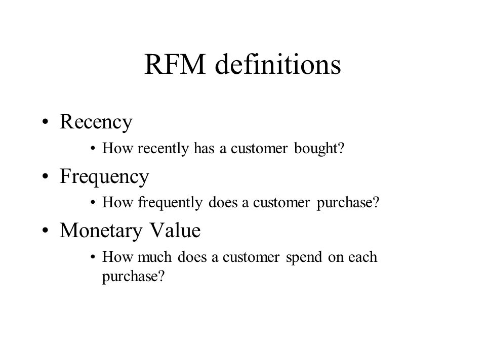 RFM definitions Recency Frequency Monetary Value