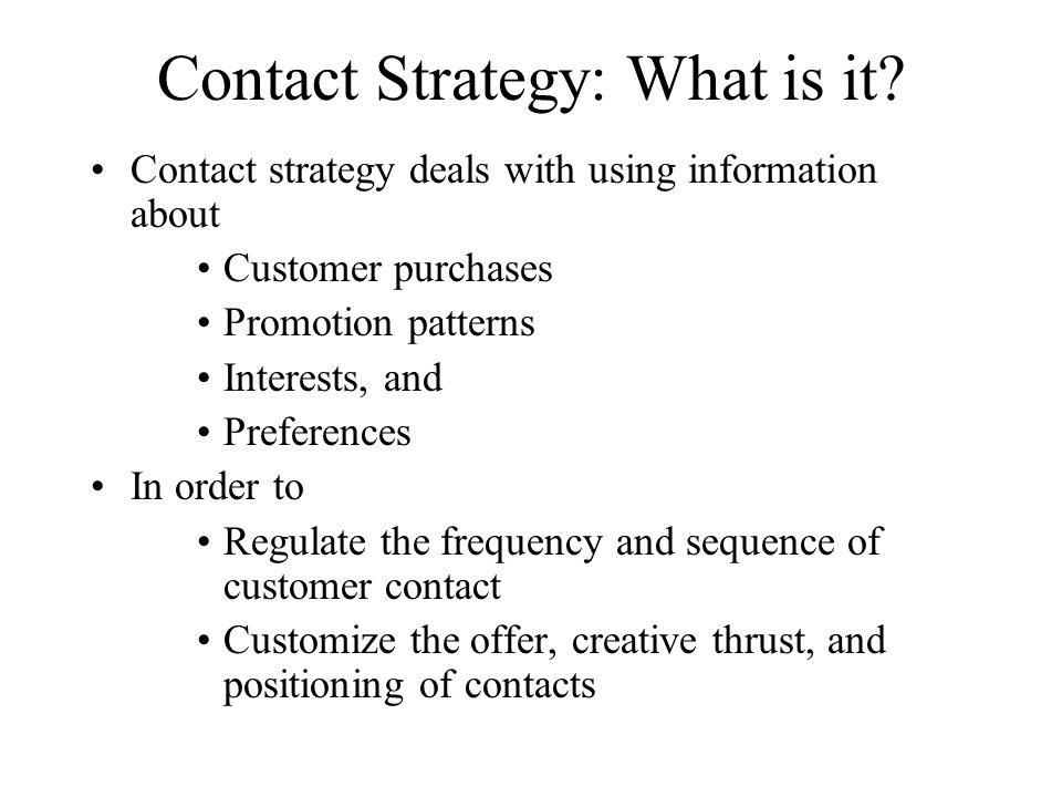 Contact Strategy: What is it