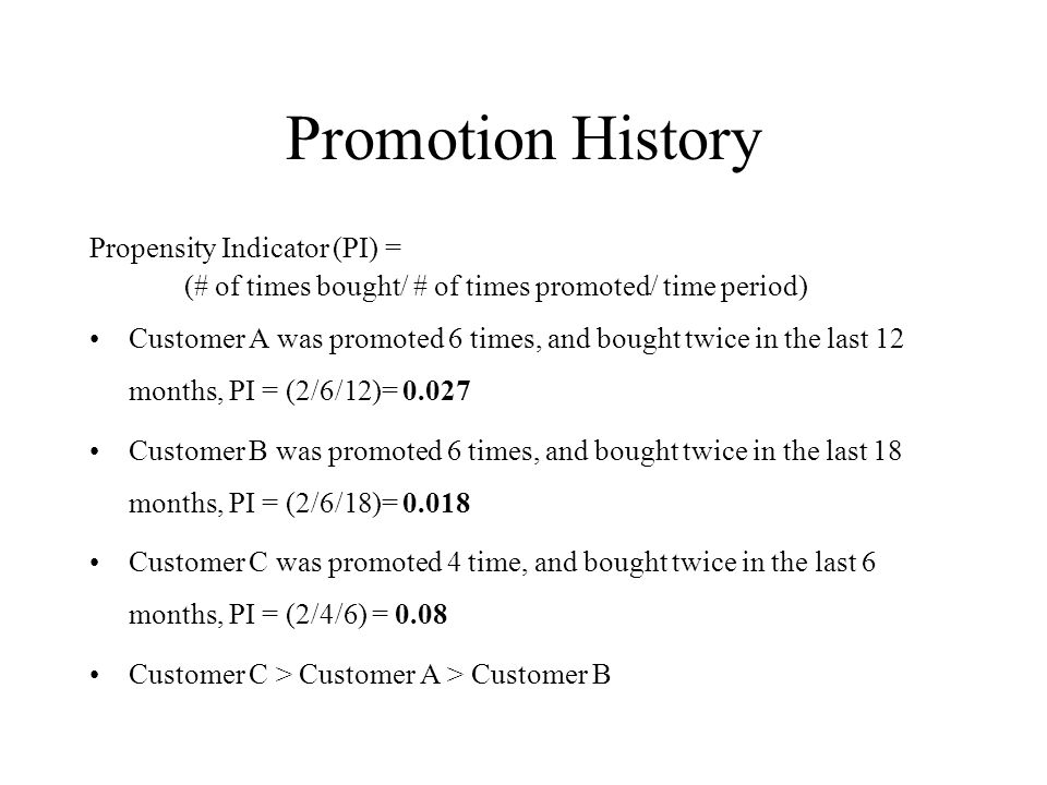 Promotion History Propensity Indicator (PI) =