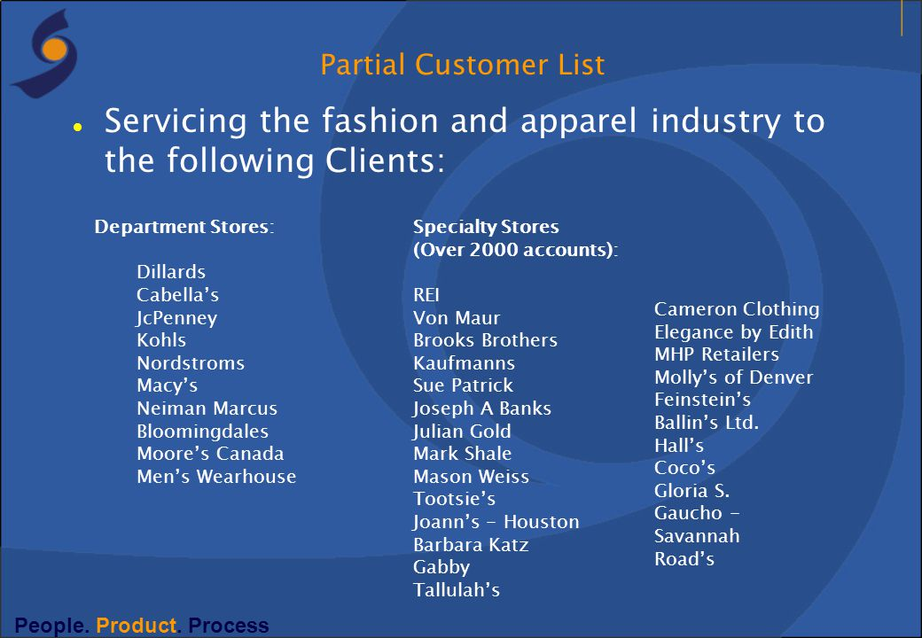 Servicing the fashion and apparel industry to the following Clients: