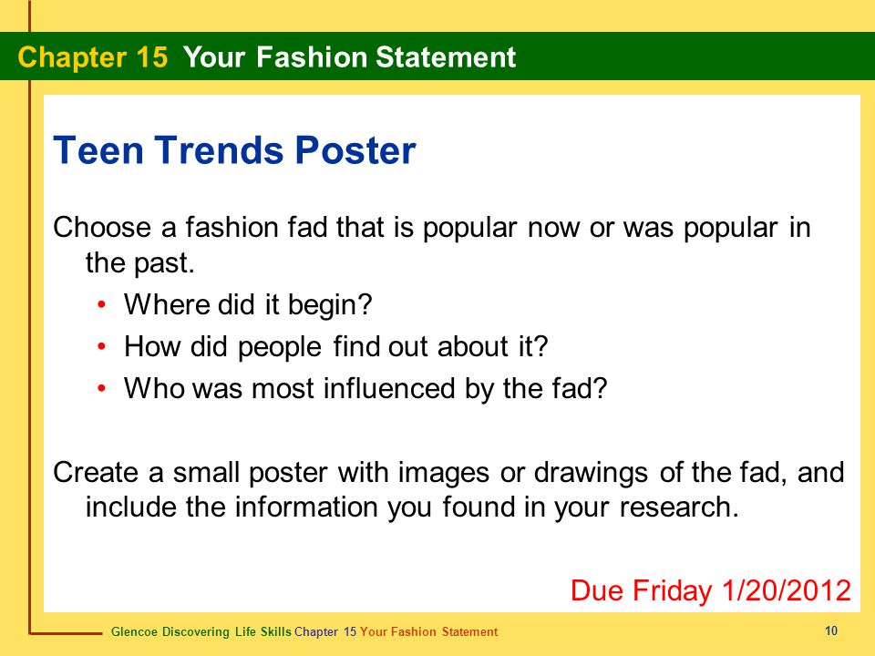 Teen Trends Poster Choose a fashion fad that is popular now or was popular in the past. Where did it begin