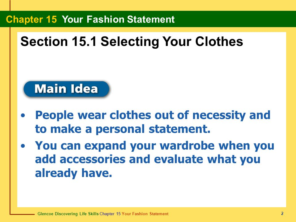Section 15.1 Selecting Your Clothes