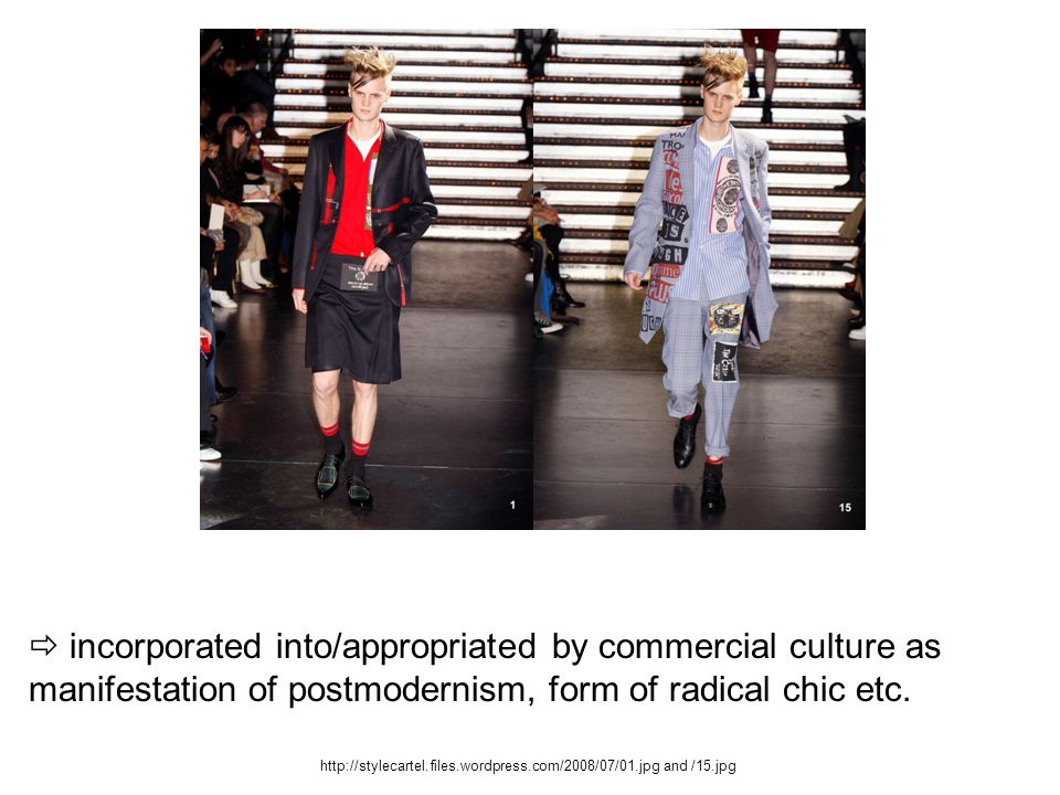  incorporated into/appropriated by commercial culture as manifestation of postmodernism, form of radical chic etc.
