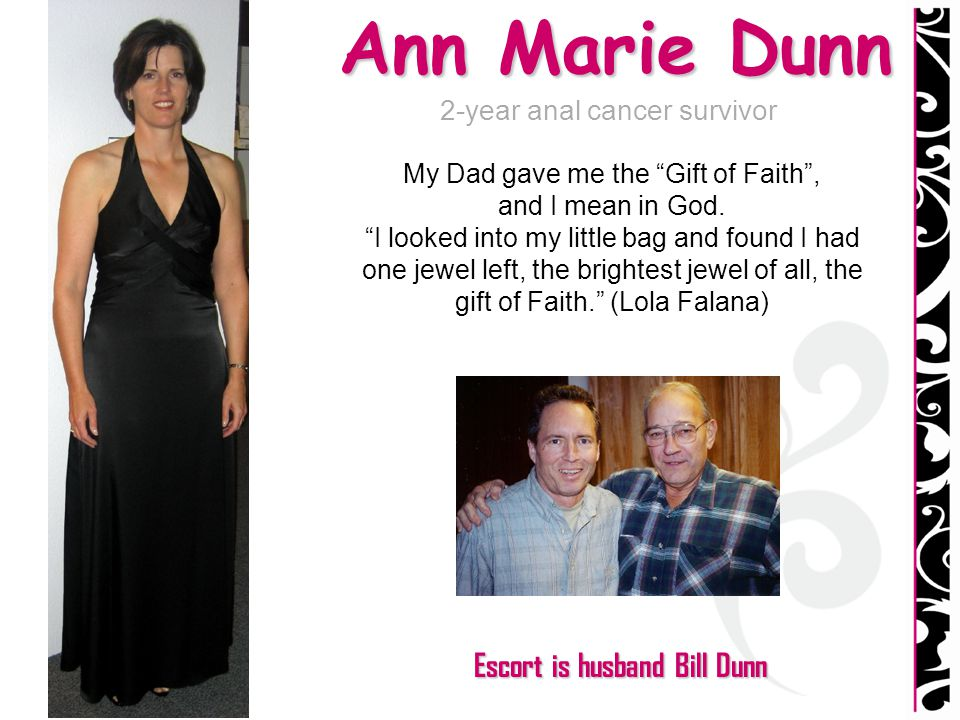 Ann Marie Dunn Escort is husband Bill Dunn 2-year anal cancer survivor