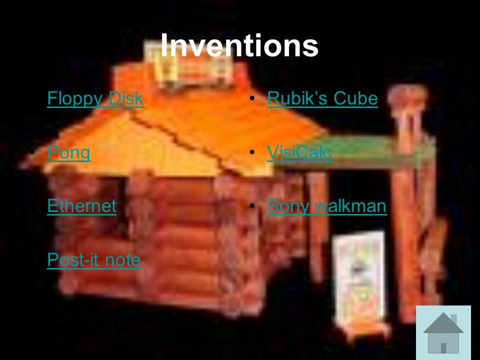 Inventions Floppy Disk Pong Ethernet Post-it note Rubik's Cube