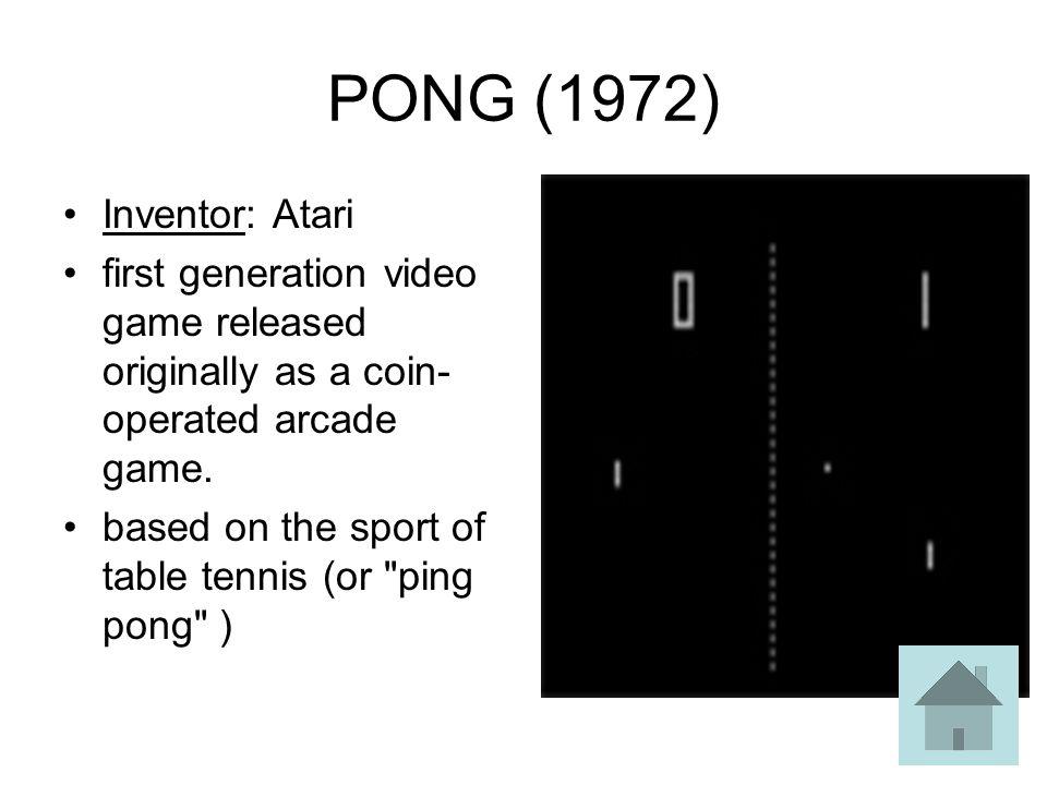 PONG (1972) Inventor: Atari