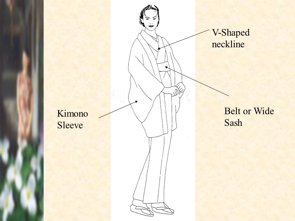 V-Shaped neckline Belt or Wide Sash Kimono Sleeve