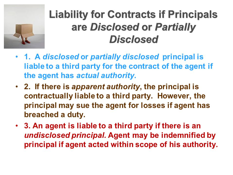 Liability for Contracts if Principals are Disclosed or Partially Disclosed