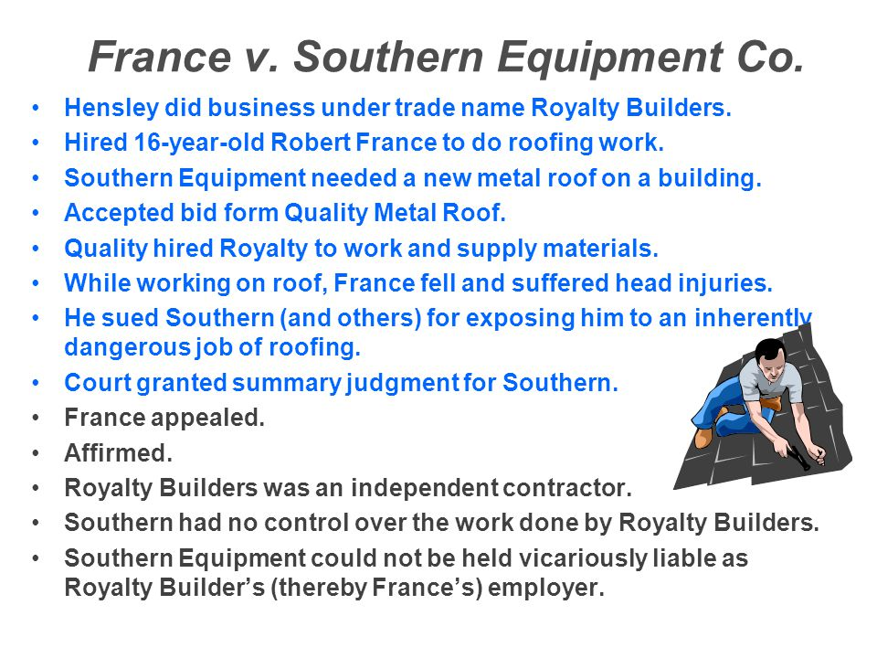 France v. Southern Equipment Co.