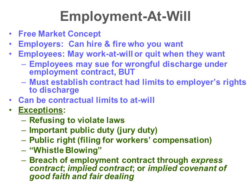 Employment-At-Will Free Market Concept