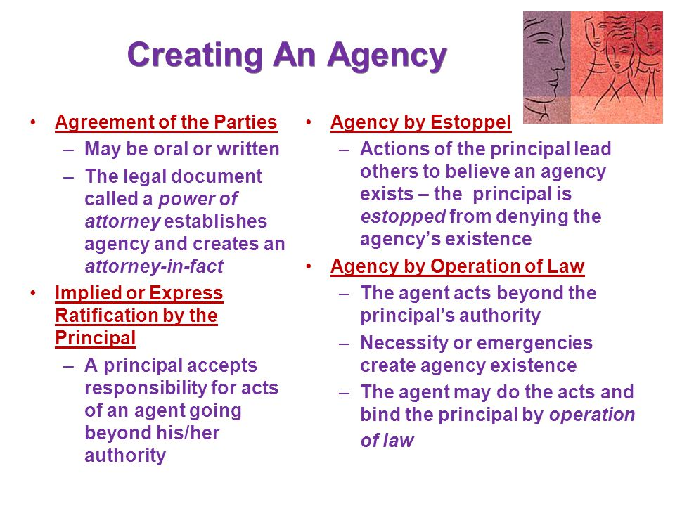 Creating An Agency Agreement of the Parties May be oral or written