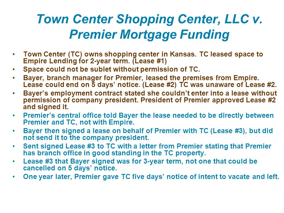 Town Center Shopping Center, LLC v. Premier Mortgage Funding