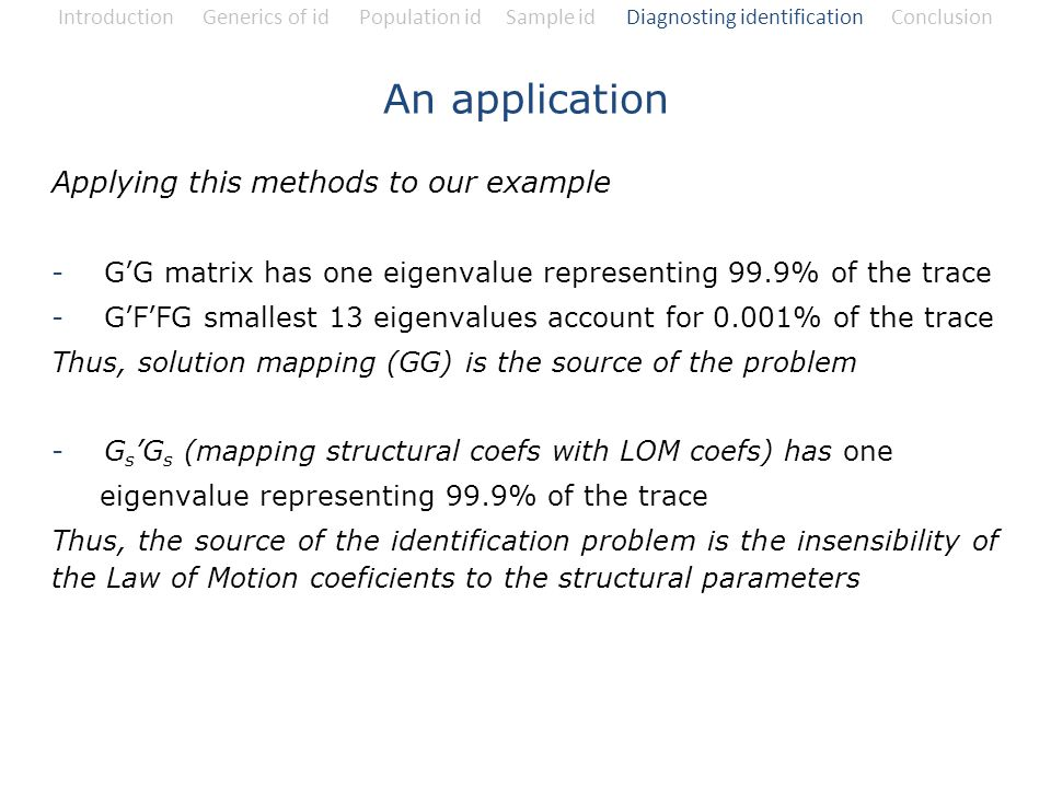 An application Applying this methods to our example