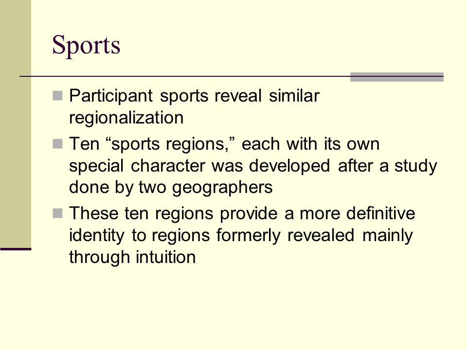 Sports Participant sports reveal similar regionalization