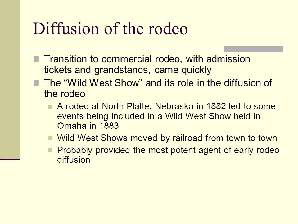 Diffusion of the rodeo Transition to commercial rodeo, with admission tickets and grandstands, came quickly.