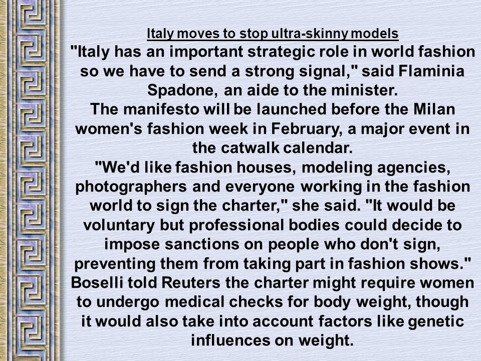 Italy moves to stop ultra-skinny models