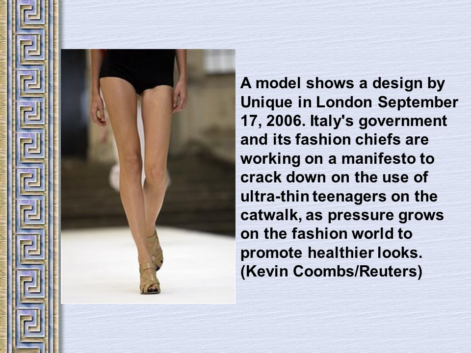 A model shows a design by Unique in London September 17, 2006