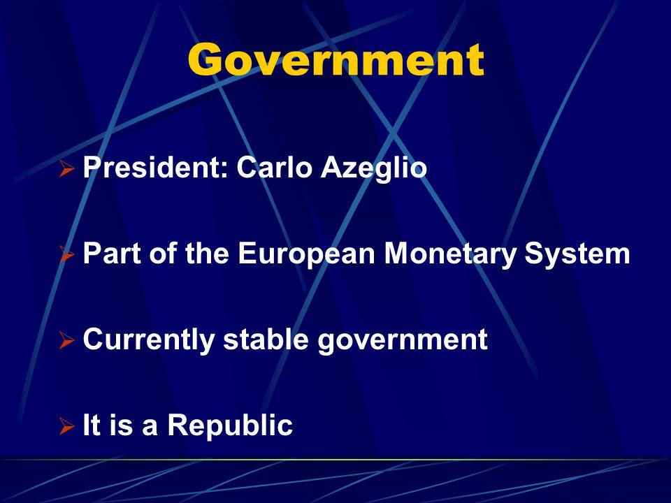 Government President: Carlo Azeglio