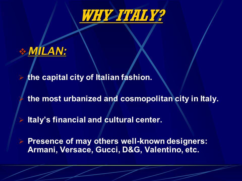 WHY ITALY MILAN: the capital city of Italian fashion.