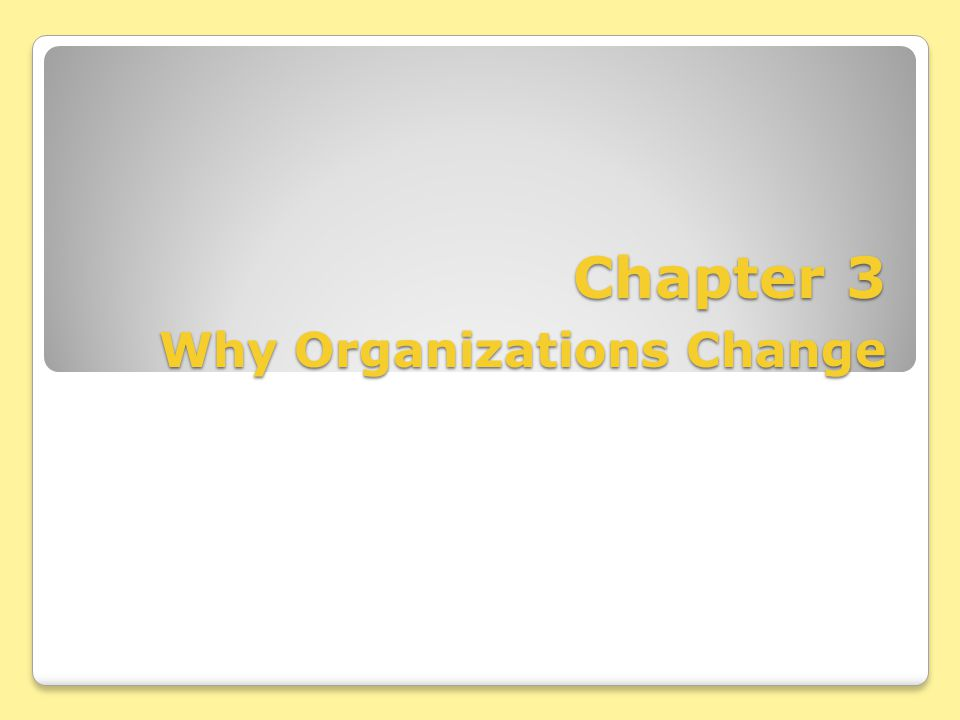 Chapter 3 Why Organizations Change