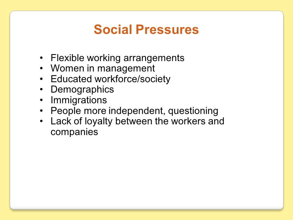 Social Pressures Flexible working arrangements Women in management