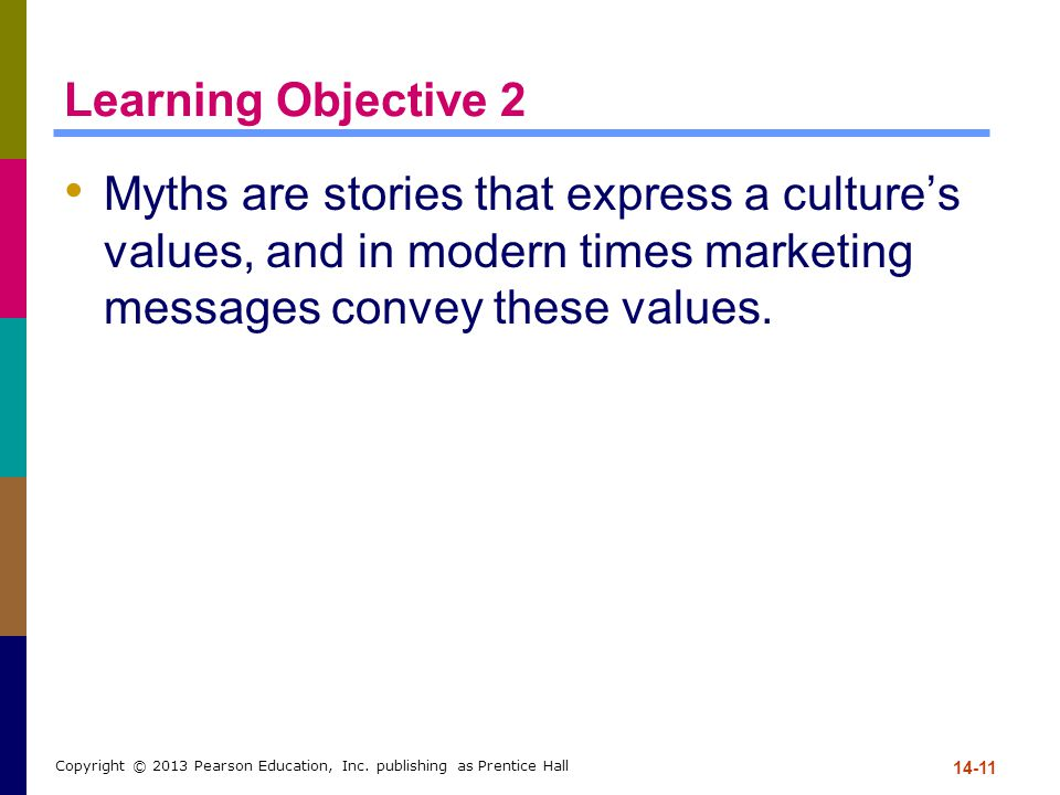 Learning Objective 2 Myths are stories that express a culture's values, and in modern times marketing messages convey these values.