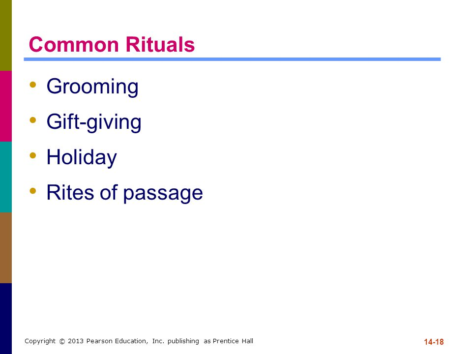 Common Rituals Grooming Gift-giving Holiday Rites of passage