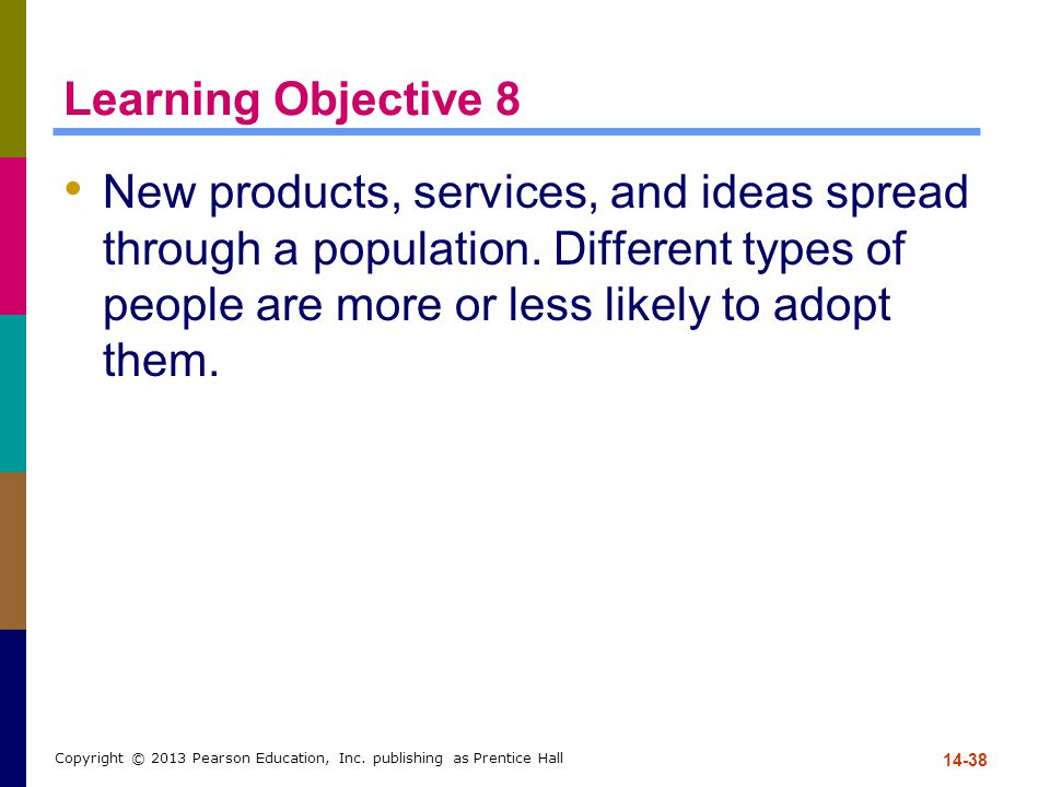 Learning Objective 8 New products, services, and ideas spread through a population. Different types of people are more or less likely to adopt them.