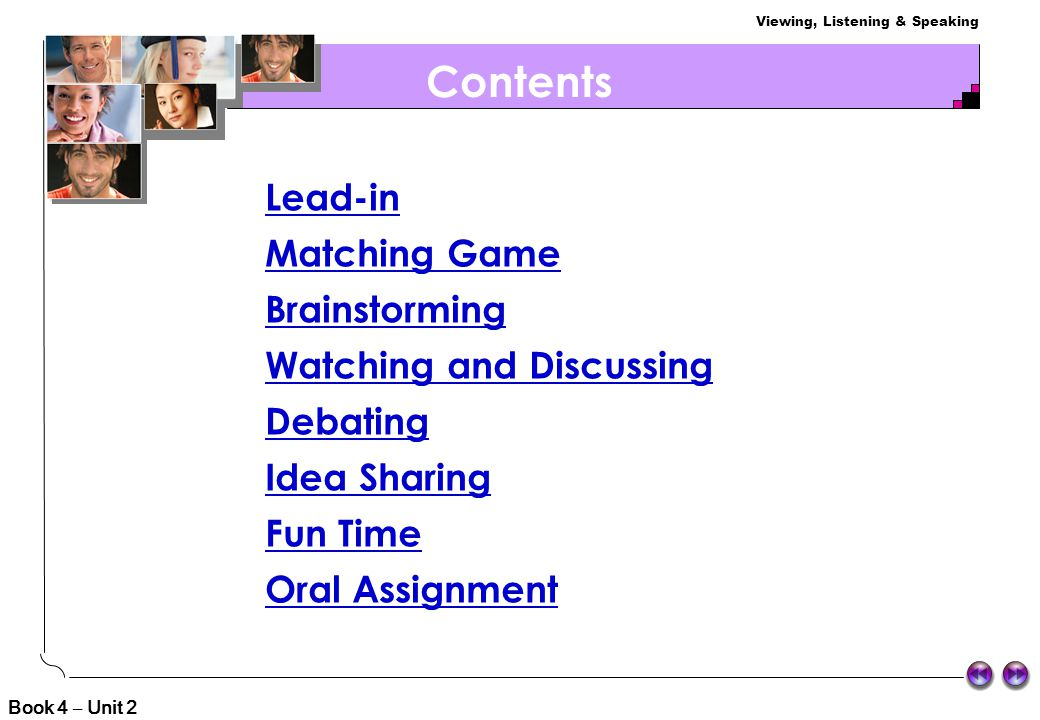 Contents Lead-in Matching Game Brainstorming Watching and Discussing