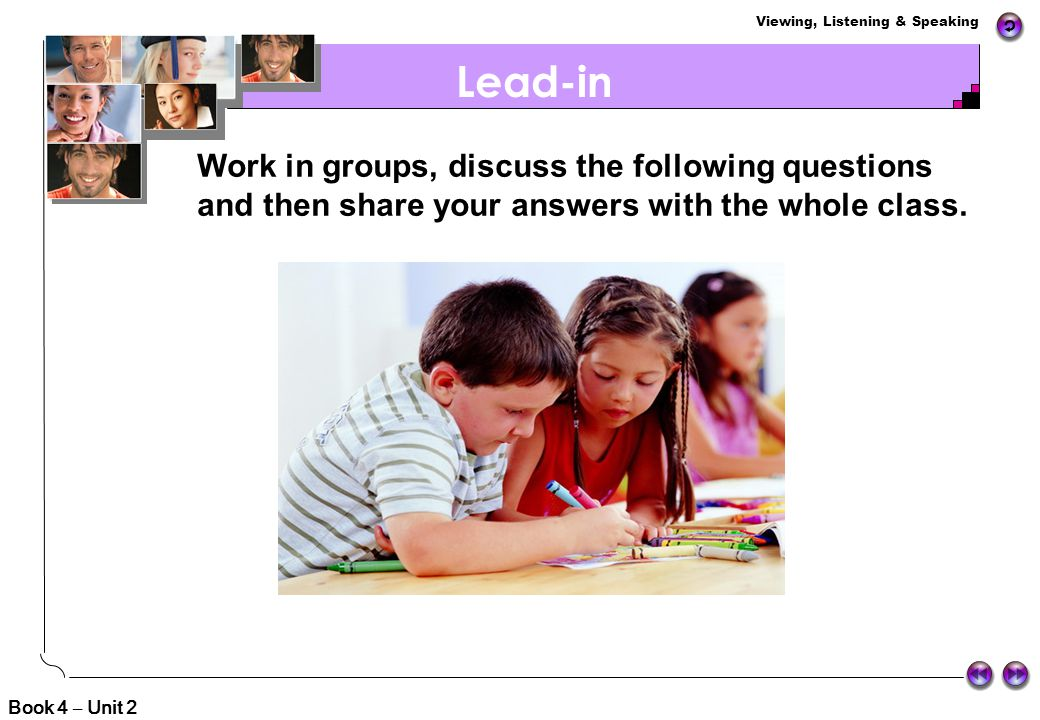 Lead-in Work in groups, discuss the following questions and then share your answers with the whole class.