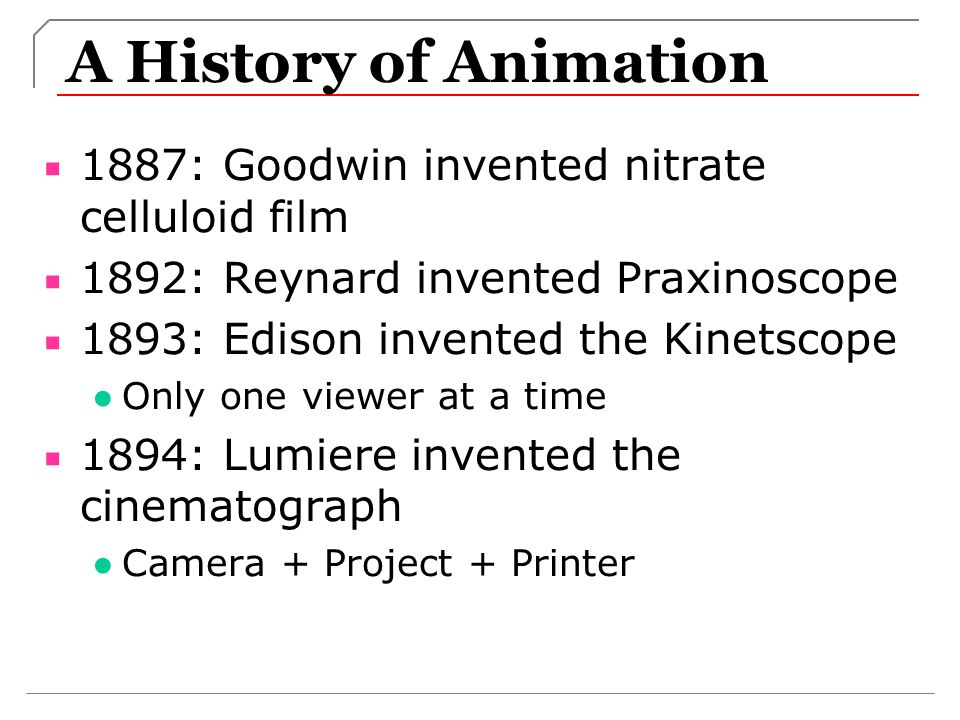 A History of Animation 1887: Goodwin invented nitrate celluloid film