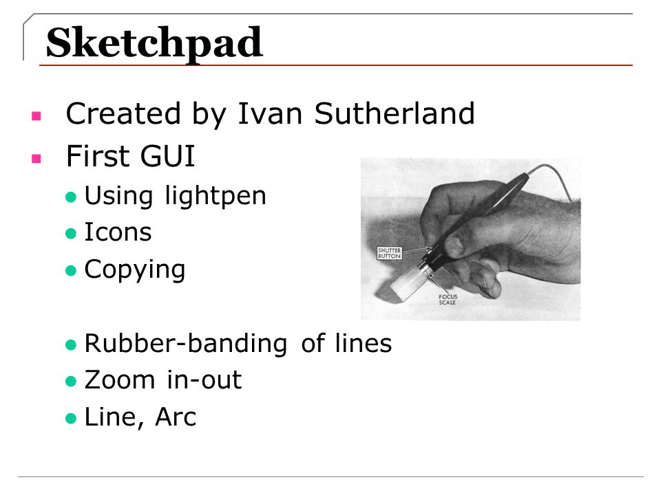 Sketchpad Created by Ivan Sutherland First GUI Using lightpen Icons
