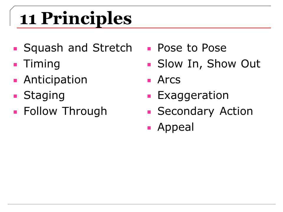 11 Principles Squash and Stretch Timing Anticipation Staging