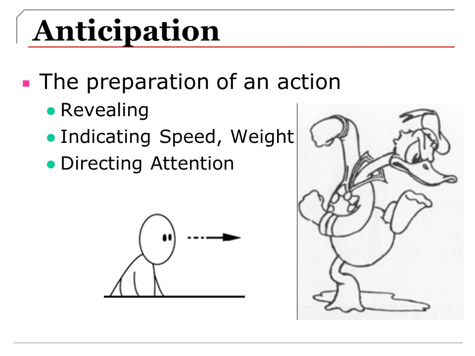 Anticipation The preparation of an action Revealing