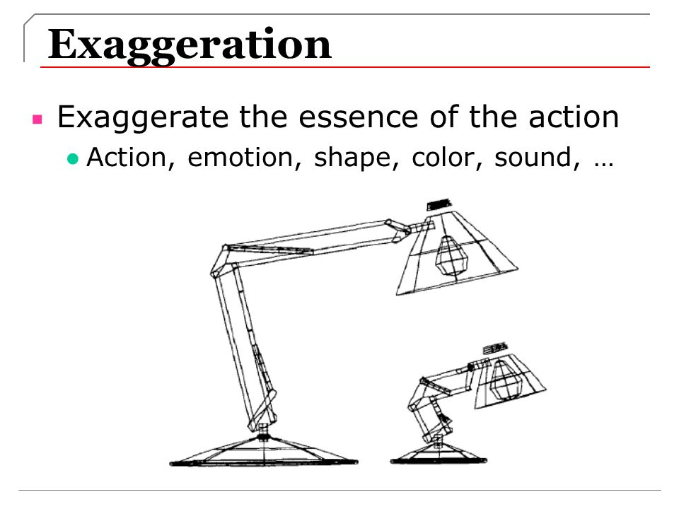 Exaggeration Exaggerate the essence of the action