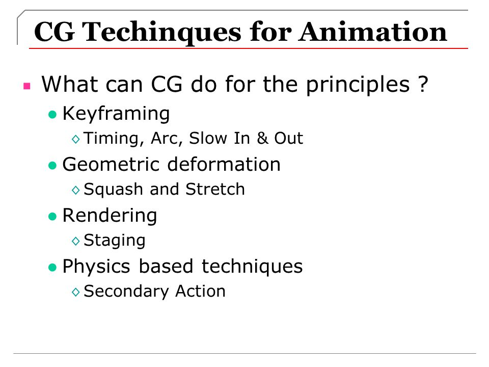 CG Techinques for Animation
