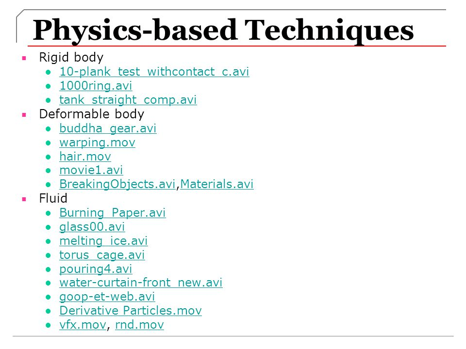 Physics-based Techniques