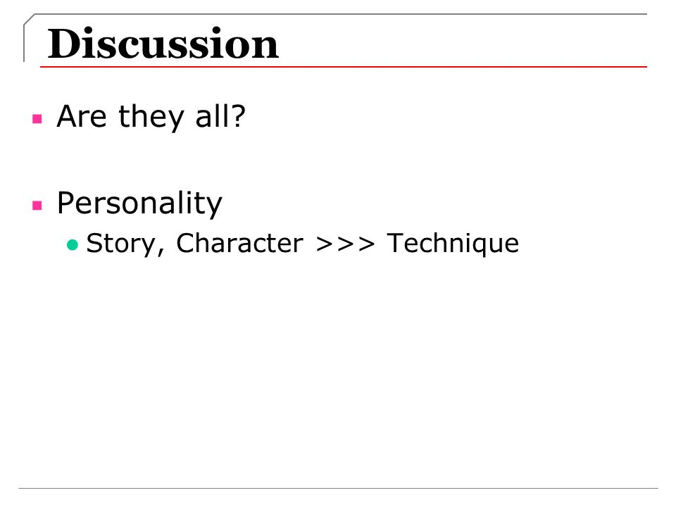 Discussion Are they all Personality