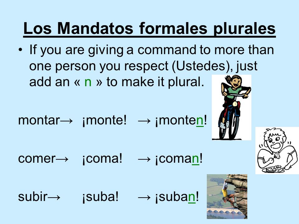 Los Mandatos formales plurales